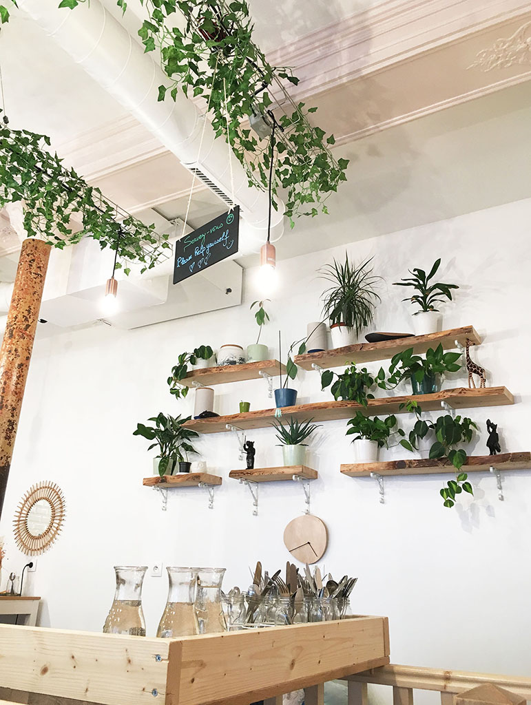 Intérieur fleuri du salon de café Petit Pays, rue Damrémont, à Montmartre