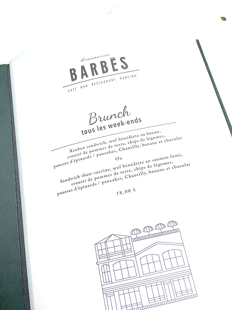 menu de la Brasserie Barbès