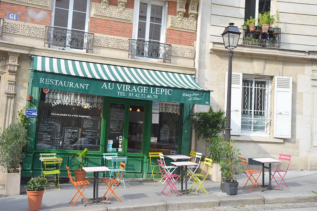 terrasses de restaurants à Montmartre, Au Virage Lepic