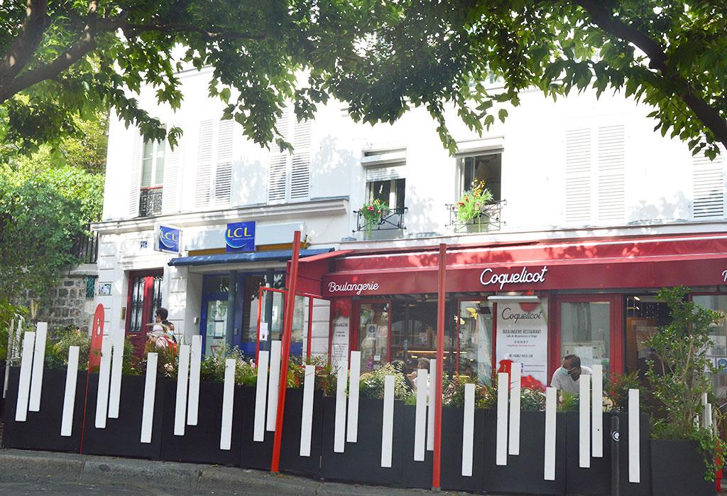 la boulangerie Coquelicot, terrasses de restaurants à Montmartre